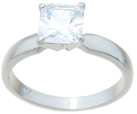925 sterling silver cz princess solitaire wedding ring 3 4 ct
