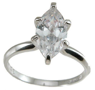 925 sterling silver cz marquise solitaire wedding ring