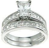925 sterling silver rhodium finish cz baguette solitaire engagement ring