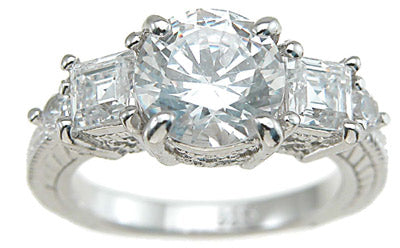 925 sterling silver rhodium finish cz princess antique style engagement ring antique style 2 1 4 ct
