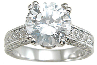 925 sterling silver rhodium finish cz antique style wedding ring
