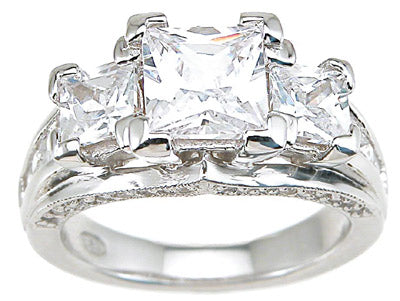 925 sterling silver rhodium finish cz princess antique style wedding ring antique style 3 ct
