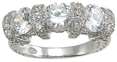 925 sterling silver rhodium finish cz antique style engagement ring antique style 1 1 2 ct
