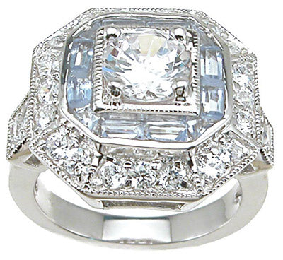 925 sterling silver rhodium finish cz antique style pave anniversary ring