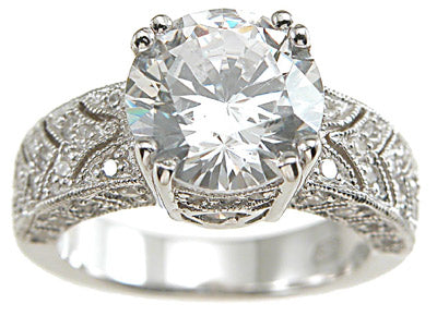 925 sterling silver rhodium finish cz antique style pave wedding ring antique style 3 ct