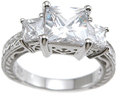 925 sterling silver rhodium finish cz princess antique style wedding ring antique style prong