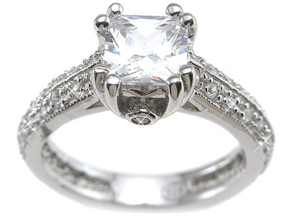 925 sterling silver rhodium finish cz princess antique style engagement ring tiffany style