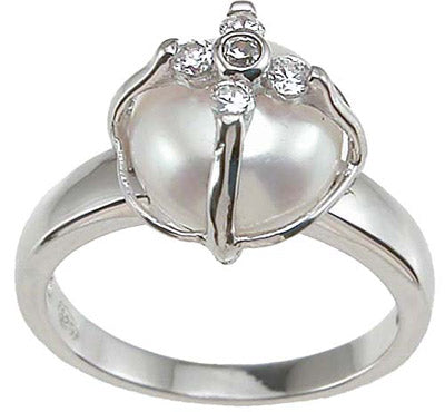 925 sterling silver rhodium finish faux pearl pave anniversary ring