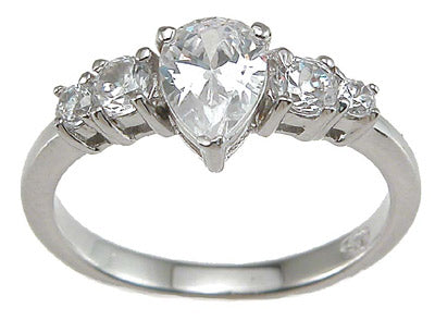925 sterling silver rhodium finish cz pear shape prong engagement ring