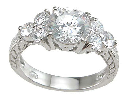 925 sterling silver rhodium finish cz prong wedding ring tiffany style