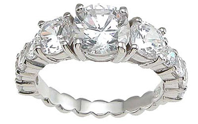 925 sterling silver rhodium finish cz prong wedding ring three stone