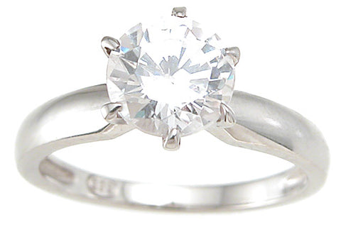 925 sterling silver cz brilliant solitaire wedding ring 1 ct