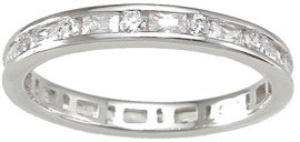 925 sterling silver eternity ring brilliant baguettes 1 ct