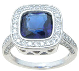 925 sterling silver simulated sapphire ring