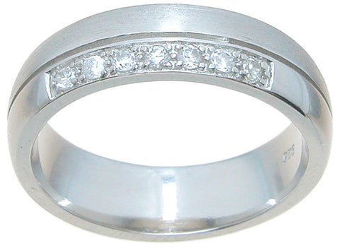 925 sterling silver wedding band pave setting 6mm