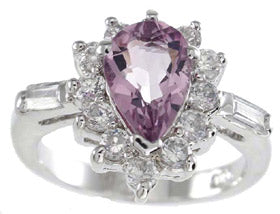 925 sterling silver platinum finish genuine amethyst ring 2 1 2 ct