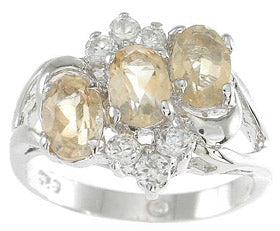 925 sterling silver platinum finish genuine citrine ring 3 ct