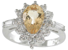 925 sterling silver platinum finish genuine citrine ring 2 1 2 ct