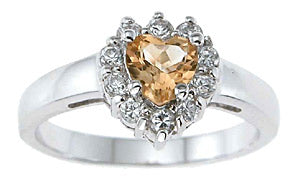 925 sterling silver platinum finish genuine citrine ring 1 ct