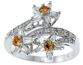 925 sterling silver platinum finish genuine citrine ring 15mm 3 4 ct