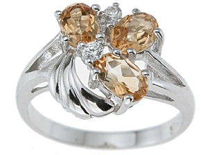 925 sterling silver platinum finish genuine citrine ring 1 1 4 ct
