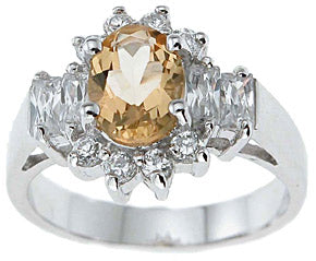 925 sterling silver platinum finish genuine citrine ring 2 1 4 ct