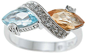 925 sterling silver platinum finish genuine topaz and citrine ring