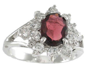 925 sterling silver platinum finish genuine garnet ring oval 2 ct