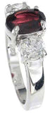 925 sterling silver platinum finish genuine garnet ring 8mm 1 1 2 ct