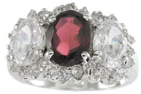 925 sterling silver platinum finish genuine garnet ring 3 1 2 ct