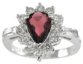 925 sterling silver platinum finish genuine garnet ring 2 1 2 ct