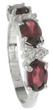 925 sterling silver platinum finish genuine garnet ring 4mm 1 1 2 ct