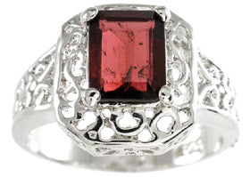 925 sterling silver platinum finish genuine garnet ring emerald cut 2 ct