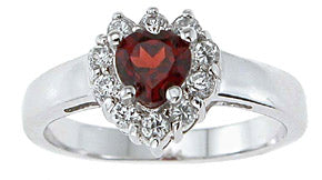 925 sterling silver platinum finish genuine garnet ring 1 ct
