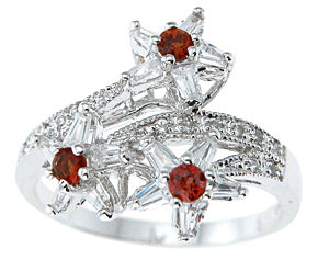 925 sterling silver platinum finish genuine garnet ring 3 4 ct
