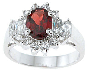 925 sterling silver platinum finish genuine garnet ring 2 1 4 ct