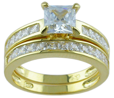 14kt gold plated 925 sterling silver ring 2ct