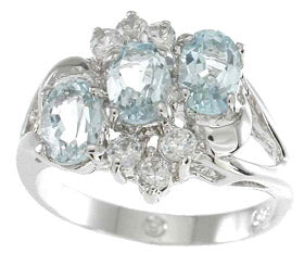 925 sterling silver platinum finish genuine topaz ring 3 ct