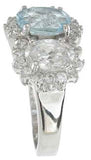 925 sterling silver platinum finish genuine topaz ring 3 1 2 ct
