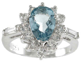 925 sterling silver platinum finish genuine topaz ring 2 1 2 ct