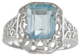 925 sterling silver platinum finish genuine topaz ring emerald cut 2 ct