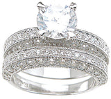 925 sterling silver rhodium finish cz antique style wedding set ring antique style 2 ct