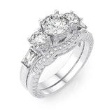 925 sterling silver rhodium finish cz antique style engagement set ring tiffany style 2 1 4 ct