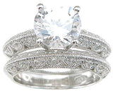 925 sterling silver rhodium finish cz antique style wedding set ring antique style 2 1 4 ct