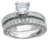 925 sterling silver rhodium finish cz antique style wedding set ring antique style 1 1 2 ct