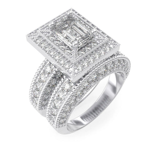 925 sterling silver rhodium finish cz antique style wedding set ring antique style 2 1 2 ct