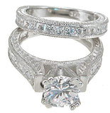 925 sterling silver rhodium finish cz princess wedding set ring 6x6 2 ct