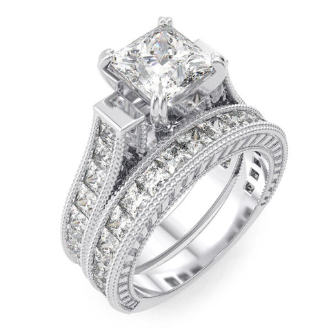 925 sterling silver rhodium finish cz princess engagement set ring antique style
