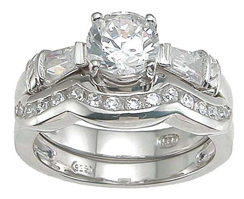 925 sterling silver rhodium finish cz engagement set ring