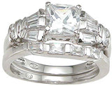 925 sterling silver rhodium finish cz princess wedding set ring antique style 1 1 2 ct